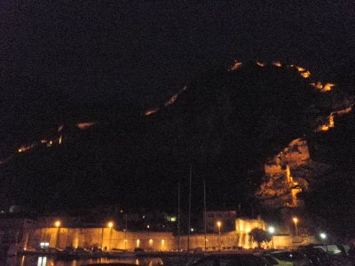 The fortress wall of Kotor at night
