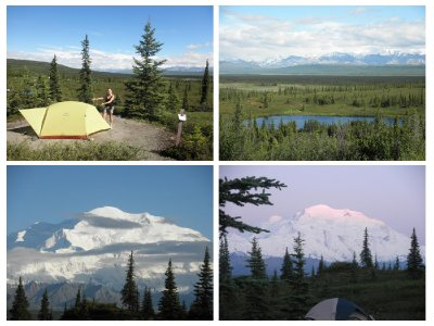 My new tent and the amazing view at Mt Mc Kinley at midsummernight in Denali Park. Right below is at 2-3 in the morning!!