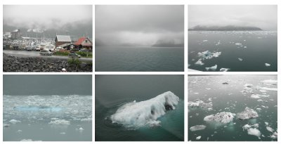 By bus, train and ferry from Sewart to Valdez: sailing in between many ice bergs coming from the Columbia Glacier