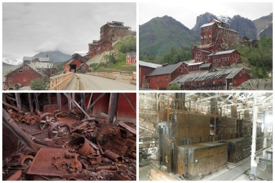 The Kennecott copper mine which closed down in 1938 and left behind some beautiful old buildings and old machinery.