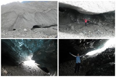 Glacier caving: on top pictures you can see where we went under the glacier. Below the view from the start of the glacier cave