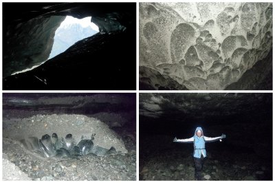 Glacier Caving: amazing to hike UNDER the glacier and see the huge 'ice diamonds'.