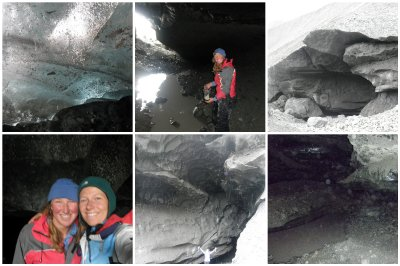Ice Caving: Amazing trip with Robin crowling and hiking under the glacier in an almost empty river bed.
