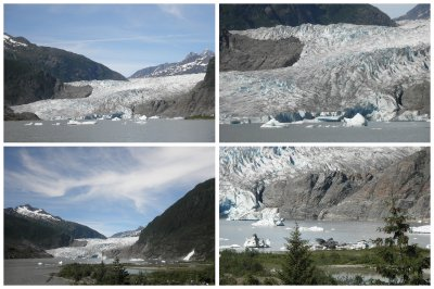 Mendenhall glacier at a gorgeous day in South East Alaska where I was informed that it rains all the time... (if you stay longer than an hour, expect it to rain). Well, I guess I was once more lucky.