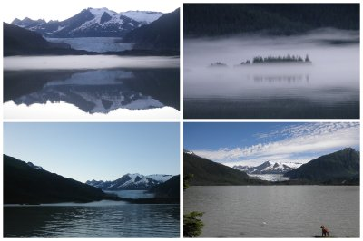 The view from my campsite at three in the morning (top pictures) and in the morning of the Mendenhall Glacier