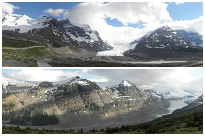 Top: Athabasca Glacier. Bottom: Mt and Glacier Saskatchewan, both in the evening with perfect light