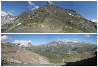 Col de Bonhomme (2329m) and view from the col