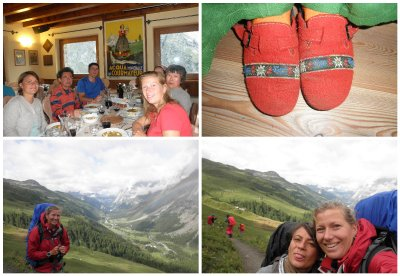 Diner in the most wonderful mountain hut: refuge Bonatti with pictures of his trips and great footwear