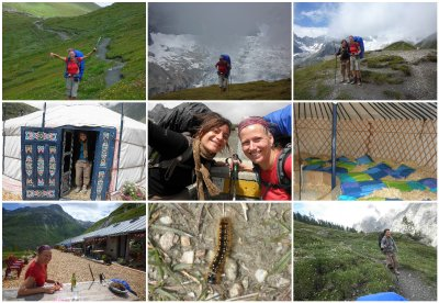 From the Grand Col ferret (2537) to Ferret (1700m). See the yourts, MJ collecting stones