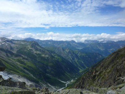View from fenetre d'Arpette: we are going down, down into the valley