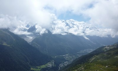Chamonix with a bit hidden Mont Blanc Chain and the Mer de Glace