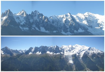 The mont blanc at the right, with left the black point: Aiguille du Midi (3800m): a telepherique goes there!