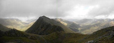 Five Sisters of Kintail: looking east where I came from: Sgurr nan Spainteach (990m)