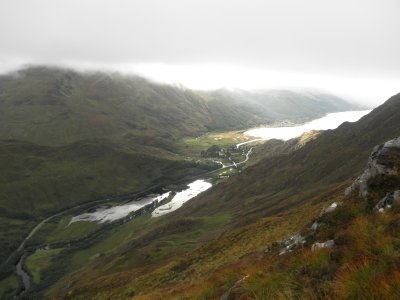 Five Sisters of Kintail: after lots of fog a view!! From here I walked a straight line down to the loch through hip high bush