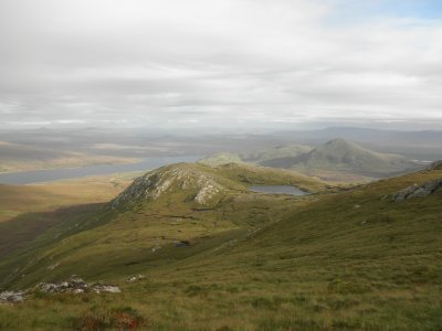 Ben Loyal: View from the top at the Loch na Creige Riabhaich
