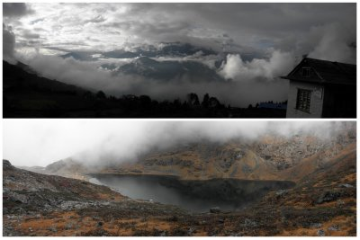 The play of the clouds never bores. The upper view is from Naijing (3100m). The below view is at Pokhari (5 lakes) (4200m