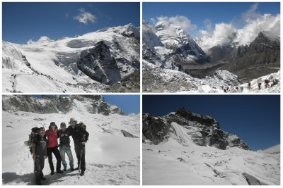 Finally, finally on the snow!!!!!  joehee!!! This is all above 5200m, suddenly you enter in this beautiful world.