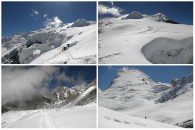 The beautiful view at the slope towards the Mera Peak, where we will walk as well towards the summit...
