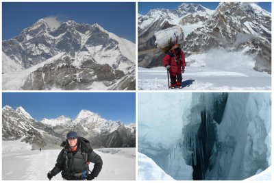 The higher we got, the better view of the Mount Everest we got (behind the porter and left picture)