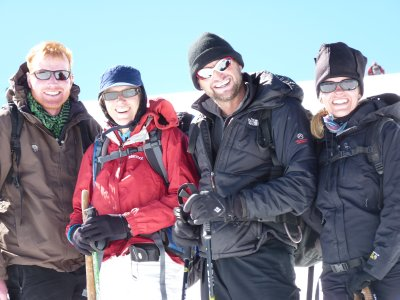 Happy faces on summit day: Richard, MJ, Jeroen and Nanda