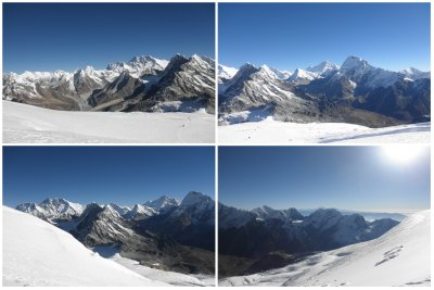SUMMIT DAY: The view is splendid at 6250m with the Mount Everest, the Lhotse, Makalu, the clouds, etc. You can see high camp as a very little rock down below