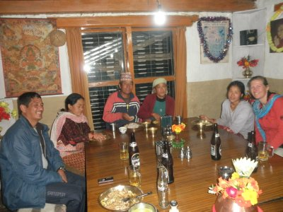 Dinner with the lovely family of the Shangri-La lodge in Ghandruk