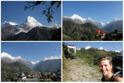 The beautiful views of the Annapurna range (from Ghorepani and from the lovely farmers village Ghandruk)