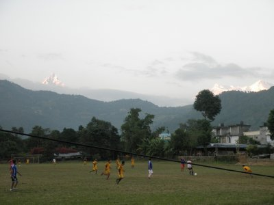 Sunset with view at Annapurna range in Pokhara