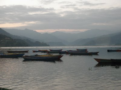 Sunset at the lake of Pokhara