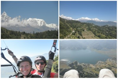The view of Annapurna range while paragliding!!