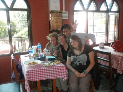 After great evening and day sad to leave Pokhara: Tom, MJ, Binod and Liz