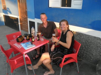 Enjoying a well deserved beer in Ponta do sol