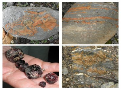 Stones from the canadian rockies. Left below are garnetts from South East Alaska (wrangell)