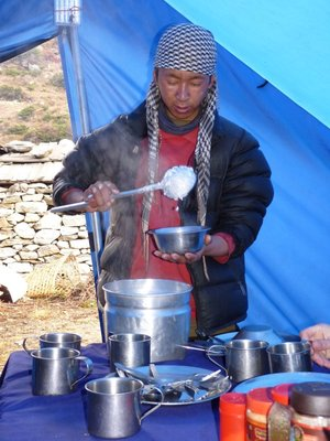 Our wonderful Geljen taking care of us: here serving breakfast (rice pudding (ok) or porridge (horrible))