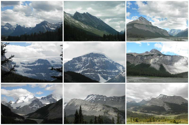 Icefields Parkway: 230 km of beautiful mountains, one after the other, all different and all beautiful.