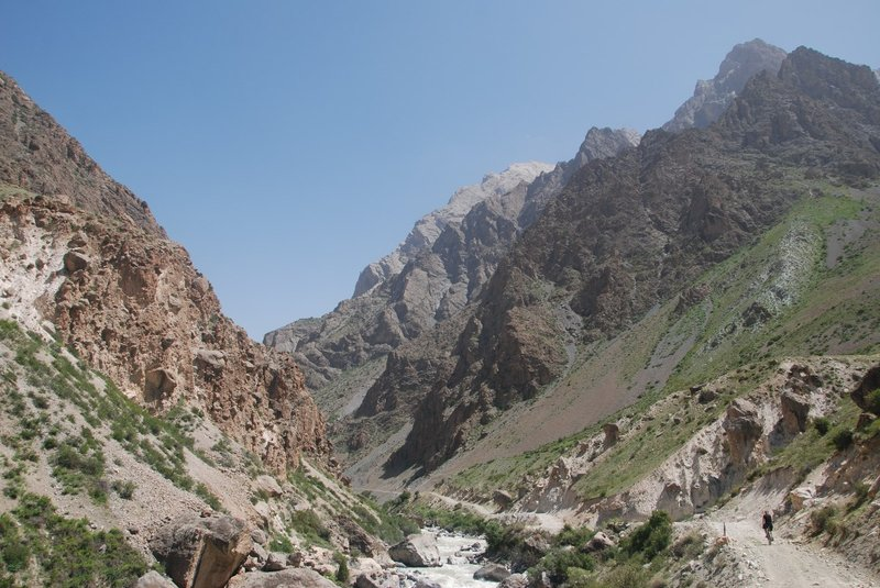 The rough mountains in the Yagnob valley and me cycling