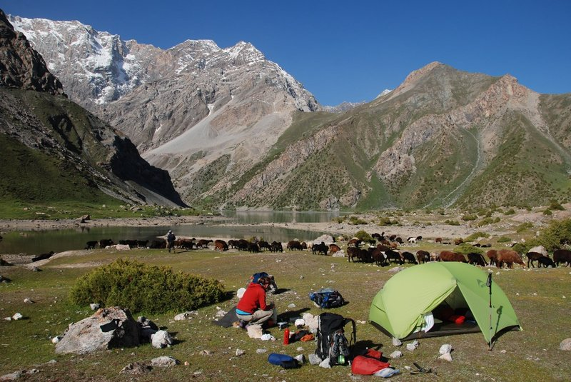 Our camp at Kulikalon Lake. We were offered fresh yoghurt from a family. Just around the corner is the mountain 'Maria'