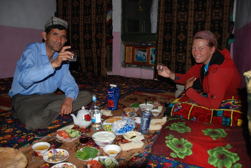 When we entered the village there was a meeting of the men at the village square having a heated discussion. Again we were warmly welcomed, with tea, bread, tomatoes & cucumber, potatoes and our host made us drink a bottle of wodka. You eat on the ground and you sleep also on the ground. — in Moskovskiy, Tajikistan.