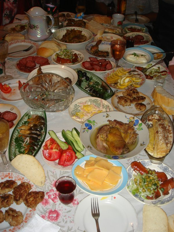 Starters at a birthday party in a Moldovan village (Ivancea)