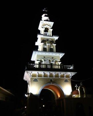 Church lit up at night