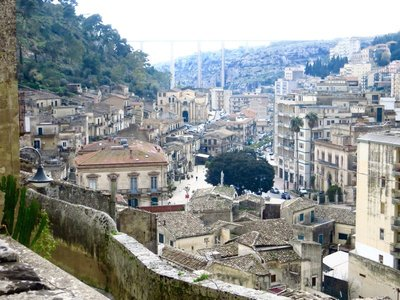 Looking down at Modica Basso and surrounding area