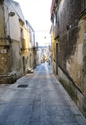 Alley in Modica Alta at sunset