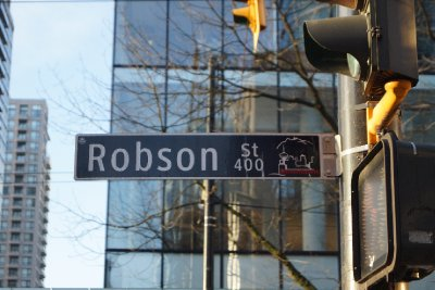 Robson Street sign, Vancouver.