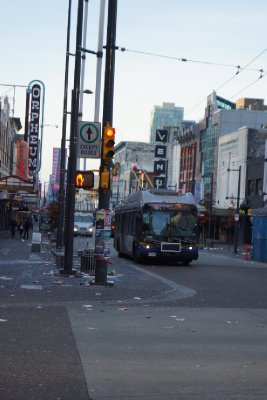 The morning after in downtown Vancouver.