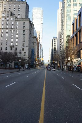 Quiet streets in Vancouver on New Years Day 2013.