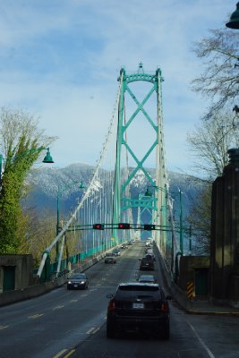 Crossing the Lions Gate Bridge from Stanley Park to North Vancouver.