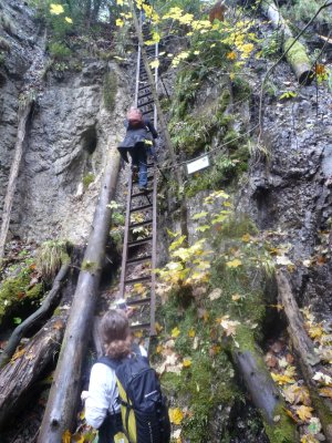 Climbing ladder on hike