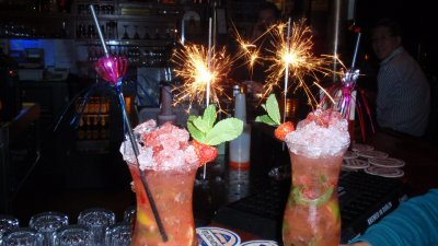Raspberry Mojitos with Sparklers in Amsterdam