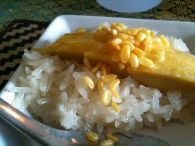 Sweet sticky rice with mago