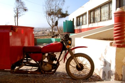 red bike with cargo